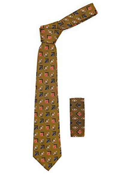 Mens Geometric Brown with Multicolor Striped Squares Necktie Includes Hanky Set