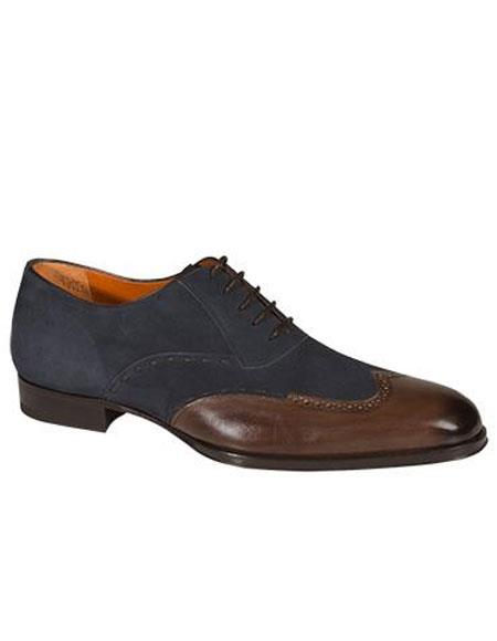Buy AP492 Mens Brown/Navy Two Tone Calfskin Lace Wingtip Leather Shoes Authentic Mezlan Brand