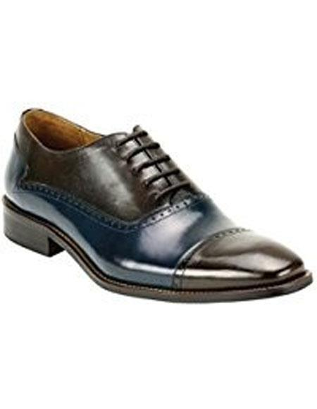 Buy KH200 Men's Brown / Navy Genuine Two Tone Leather Oxford Lace Dress Casual Shoes