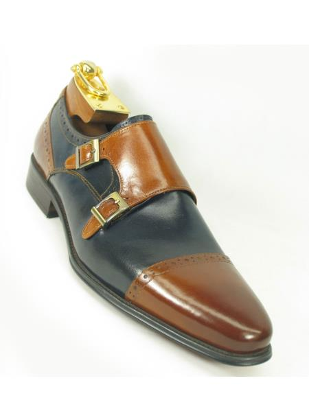 Carrucci Mens Brown/Navy Two Tone Burnished Monk Strap Style Shoe