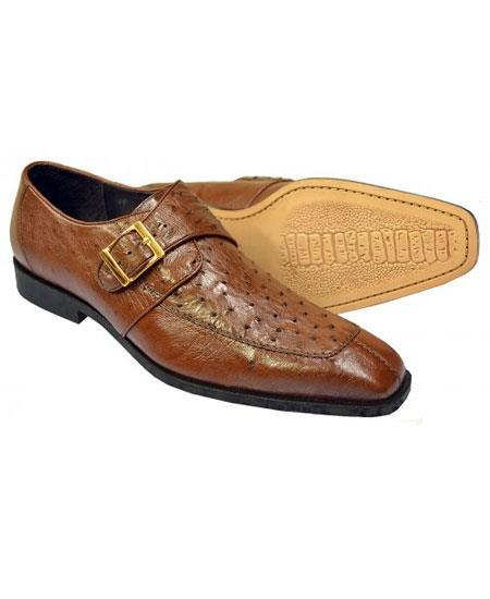 Mens Brown Genuine Ostrich Monk Strap Leather Shoes