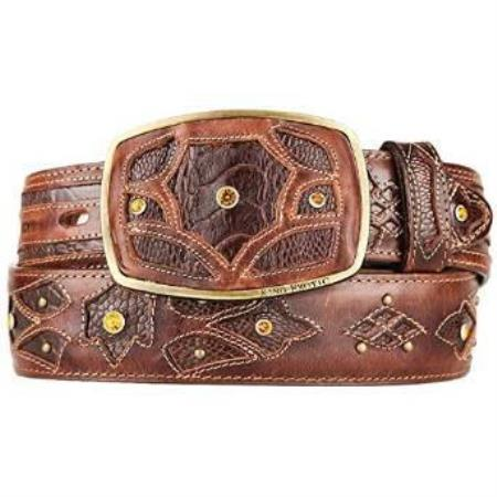 Buy AA500 Men's Brown Ostrich Leg Skin Fashion Western Belt