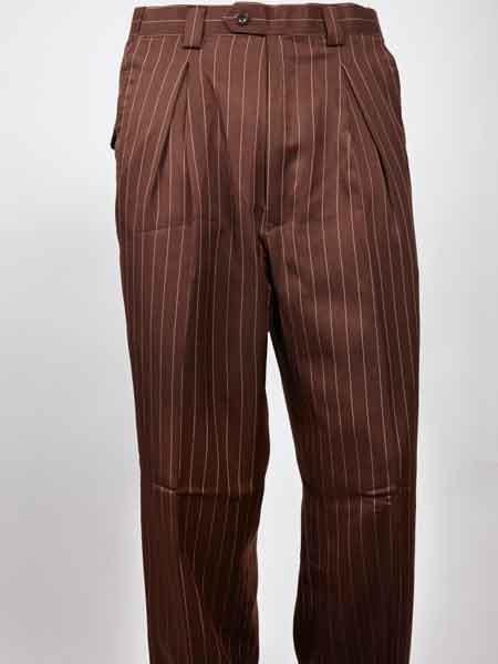 Edwardian Men's Pants, Trousers, Overalls Mens Wide Leg Pleated Brown Pinstripe Pant $65.00 AT vintagedancer.com