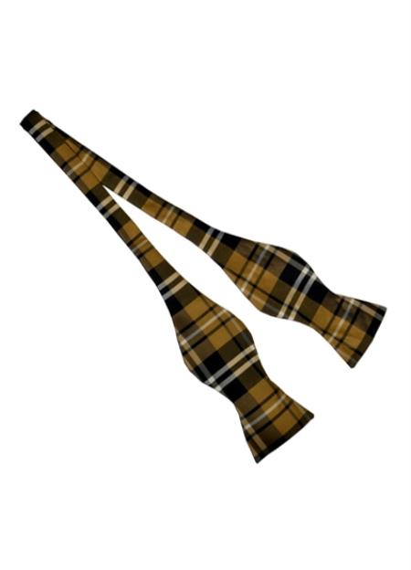 Mens Brown Polyester Plaid Pattern Self Bowtie