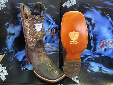 Wild West Square Brown Genuine Shark Rodeo Western Cowboy Boot