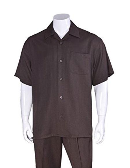 Men's Casual Short Sleeve Plain Brown Two Pieces Casual Two Piece Walking Outfit For Sale Pant Sets Suits with Matching Pleated Pants
