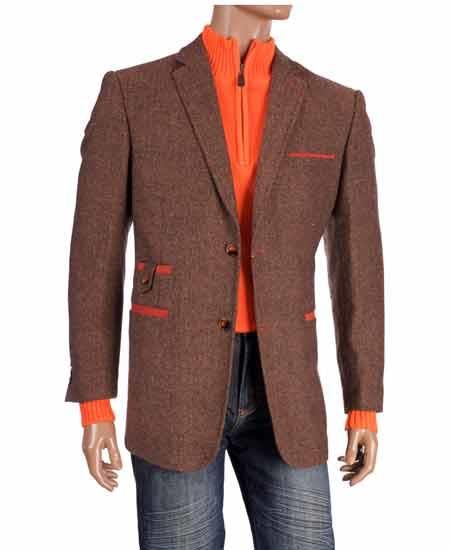Brown Notch Collar Tweed