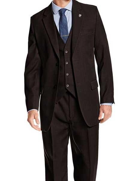 318c8292639 ... Suny Vested Suit. SKU SM1213 Mens Stacy Adams Brand 3 Piece Notch Lapel  Heather Brown Single Breasted 1920s