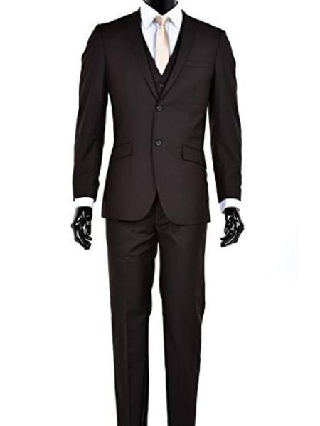 Mens Slim Fit 2 Button Single Breasted Notch Lapel Vested Suit Brown
