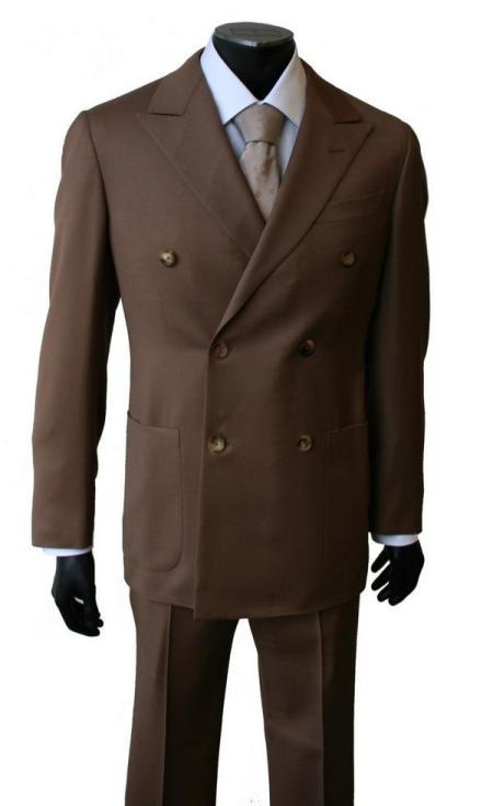 SKU# TO89 Brown Super Wool Double Breasted $189