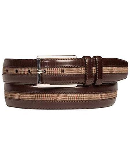 Mezlan Mens Brown/Taupe Genuine Calfskin / Printed Suede Belt