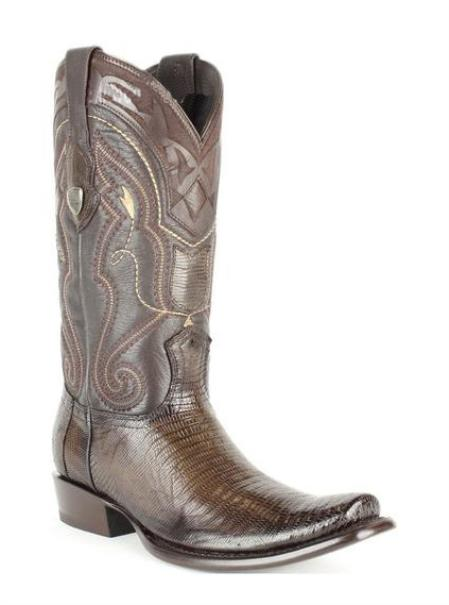 Mens Wild West Dubai Square Toe Genuine Teju Lizard Leather Dress Cowboy Boot Cheap Priced For Sale Online Burnished Brown