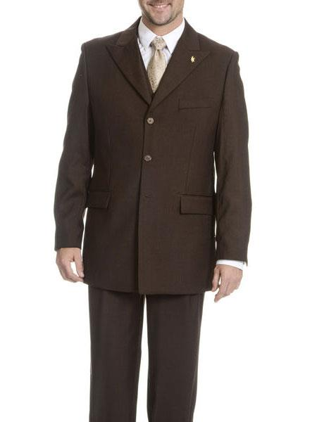 Falcone Mens  Vested Cheap Priced Business Suits Clearance Sale Brown Peak Lapel 3 Button Square Front Pleated Pant
