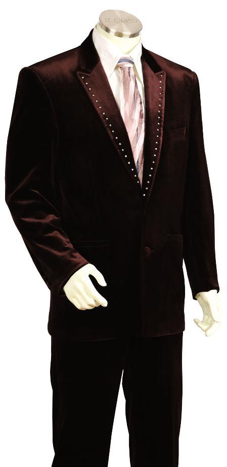 Mens Brown Velvet ~ Velour Fashion Unique Tuxedo Looking Suit