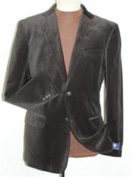 SKU#OS5542 Brown Velvet Blazer Jacket