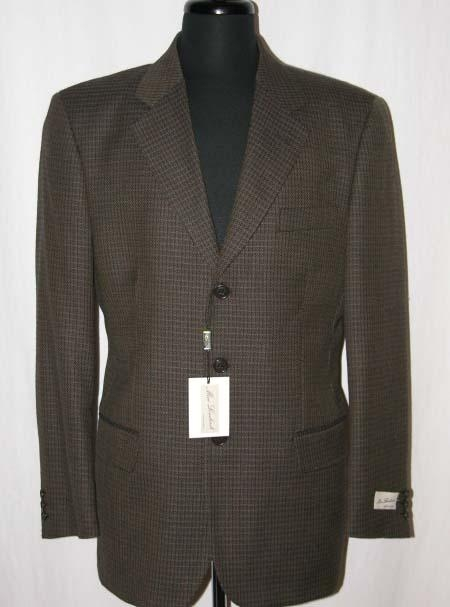 SKU# OVI897 W211384 Brown Weave Pattern 3 Buttons Super 100s Wool Suit $99