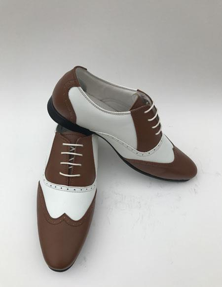 1940s Mens Shoes | Gangster, Spectator, Black and White Shoes Mens Wingtip Lace Up Style Brown  White Two toned color Dress Shoes $80.00 AT vintagedancer.com