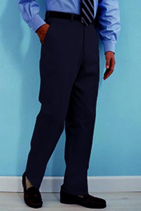 SKU#WS412 PA-100 Navy premier quality italian fabric Flat Front Mens Wool Dress Pants Hand Made Relax Fit $69