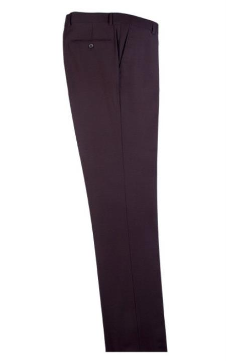 Buy SM4693 Men's Tiglio Dress Slacks Brown Modern Fit Wool Fabric Flat Front Pants
