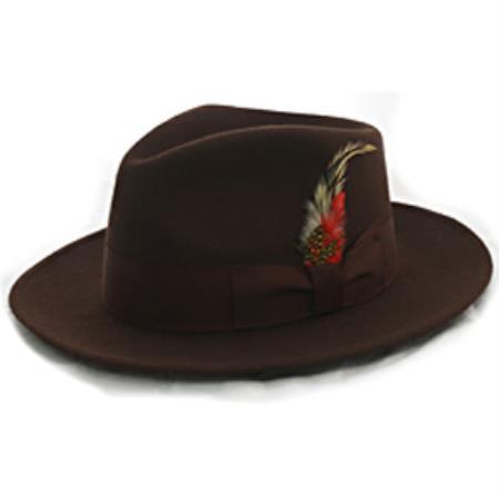Brown Wool Banded Fedora
