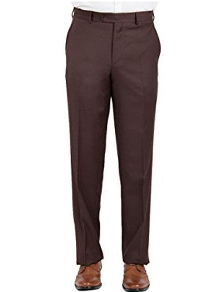 Buy SM1986 Mantoni Brown Men's Modern Fit Wool Front Front Pant