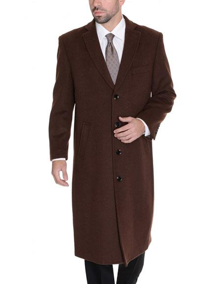 Mens Dress Coat 3 Buttons Brown Single Breasted Full Length %65 Wool Blend Overcoat Top Coat