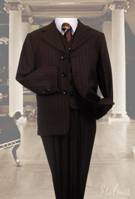 SKU#OL9800 Brown 3pc Pinstripe Suit With Vest For Kids