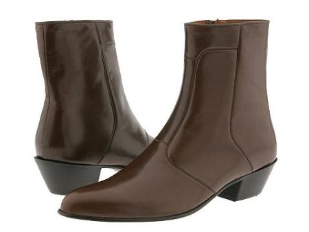"SKU# : 2019 Brown ""6-1/2\"" high demi-boot in Spanish kid skin with inside zipper and Cuban heel."