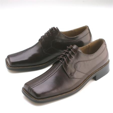 SKU#KU545 Brown Calfskin Lace-Up $75