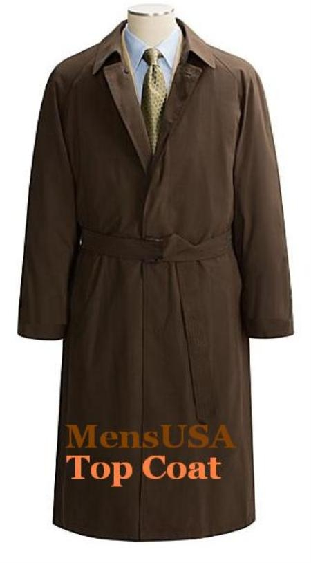SKU# VXH895 Brown Coat06 Hidden Button Self Belt Men