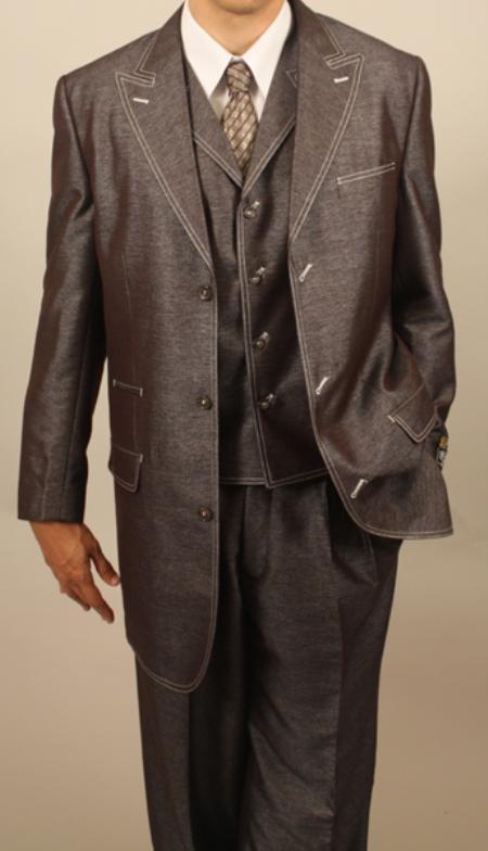 SKU#TM493 Brown Denim Look 3PC Fashion Zoot Suit