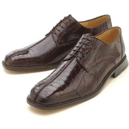 SKU#SHR341 Oxfords  Brown Ostrich/Lizard Lace Up $289