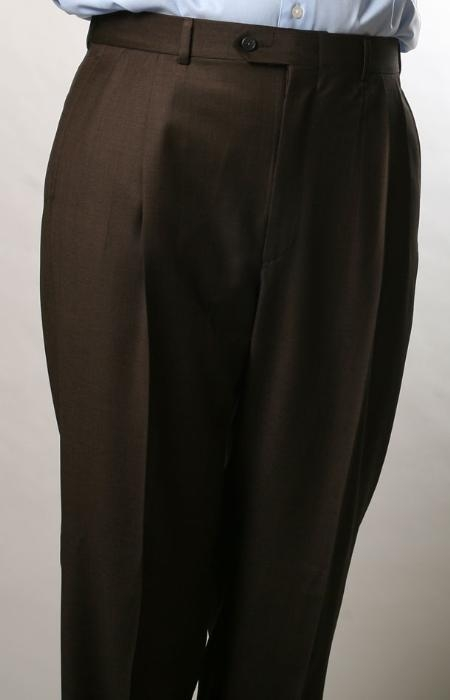 SKU#RQ8060 Brown, Parker, Pleated Pants Lined Trousers $99