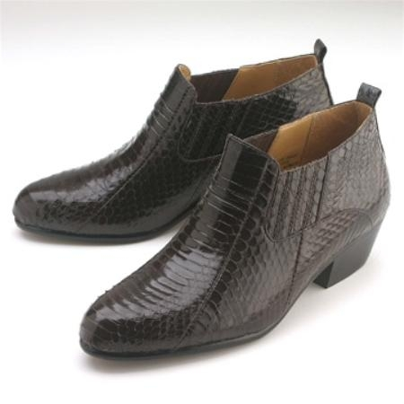 SKU#BS811 Brown Snakeskin Demi Boot $139