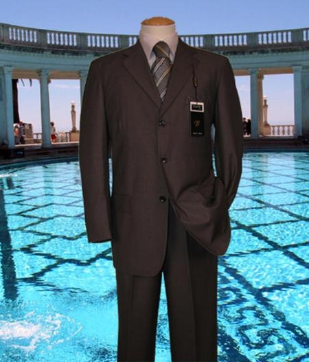 SKU#PA345 Brown Solid Suit Super 150s Hand Made With No Pleated Pants $169