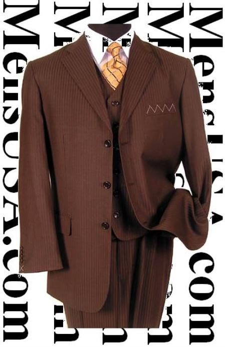 SKU# ONT461 $1295 Nicest Brown Ton On Ton Shadow Pinstripe Vested 3 Buttons Mens Suits $285