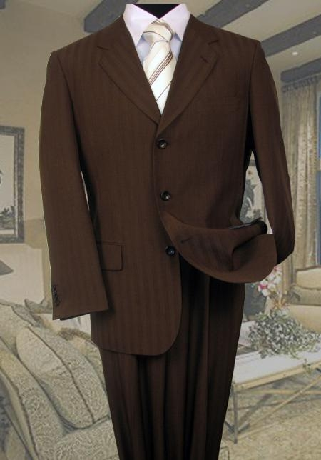 SKU#KS134 Brown Tone On Tone Stripe ~ Pinstripe Suit Super 120s Hand Made