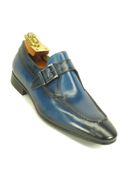 Carrucci Buckle Slip On Style Leather Lining Loafer Navy