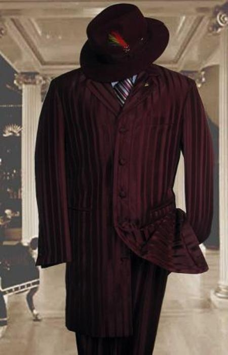 SKU#HIN2059 Burgundy~Wine Shiny Shadow Stripe Ton on Ton Shadow Stripe Mens Fashion Zoot Suits $185