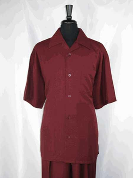 Burgundy ~ Wine ~ Maroon Color 5 Buttons Single Short Sleeve Casual Two Piece Walking Outfit For Sale Pant Sets Shirt With Pant Set