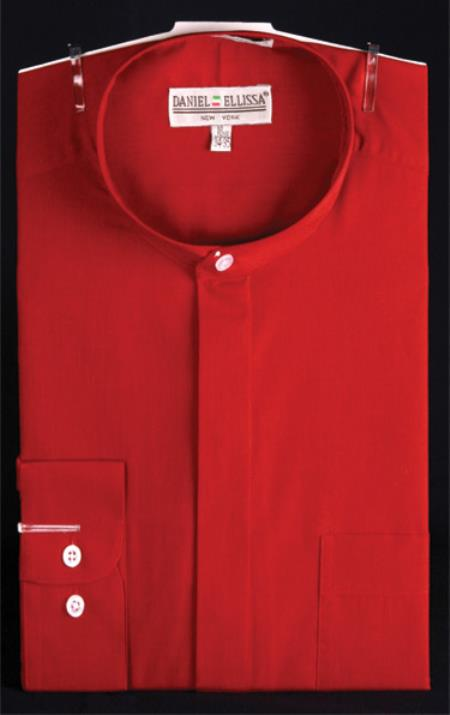 Banded Collarless Red ~ Wine ~ Maroon Color Men's Dress Shirt