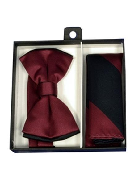 Mens Burgundy ~ Wine ~ Maroon Color/Black Polyester Satin dual colors classic Bowtie with hankie
