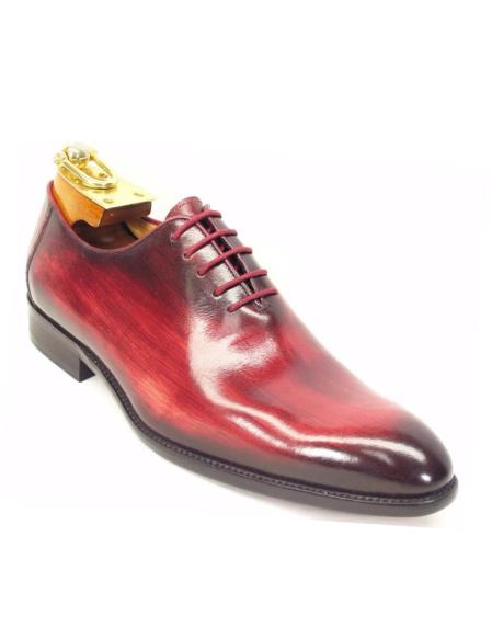 Carrucci Mens Lace Up Style Genuine Calfskin Leather Oxford Shoes Burgundy ~ Wine ~ Maroon Color