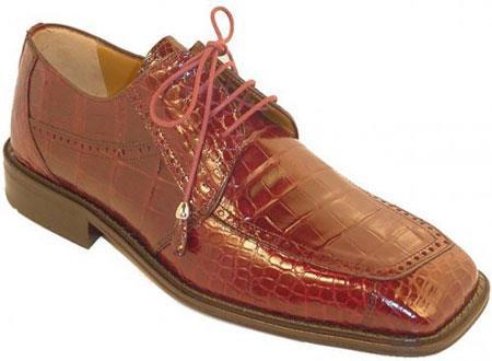 SKU#KA1830 Mens Burgundy ~ Maroon ~ Wine Color Genuine Alligator Shoes