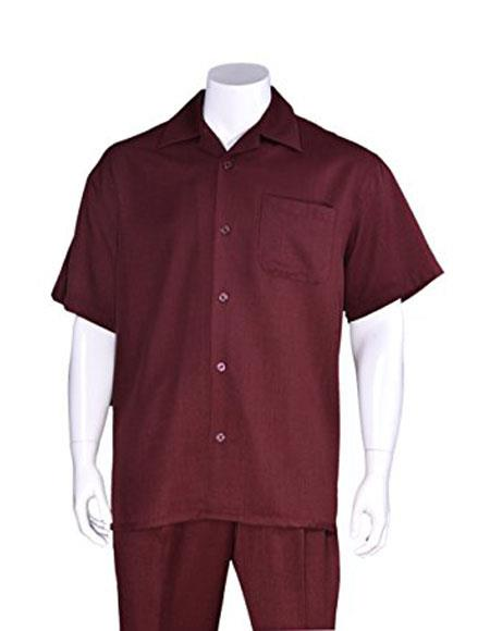 Mens Casual Short Sleeve Plain Two Pieces Burgundy ~ Wine ~ Maroon Color Casual Two Piece Walking Outfit For Sale Pant Sets Suits with Matching Pleated Pants