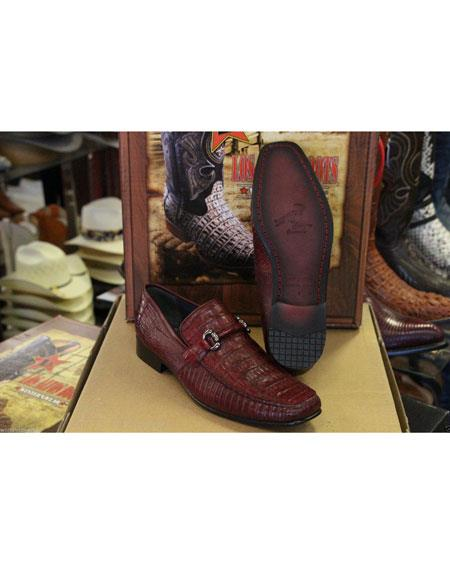 Men's Stylish Dress Loafer  and Slip On Genuine Crocodile Los Altos Maroon Dress Shoe ~ Burgundy Dress Shoe ~ Wine Color Dress Shoe Shoes