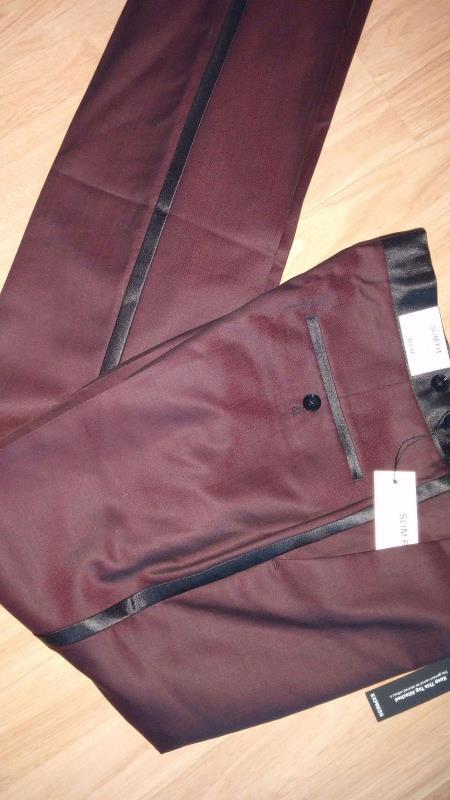 Black and Burgundy ~ Wine ~ Maroon Color Flat Front Tuxedo Slacks Pants Burgundy Tuxedo
