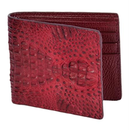 Mens Genuine Exotic Animal Skin Wallet ~ billetera ~ CARTERAS Burgundy ~ Maroon ~ Wine Color Genuine Gator Card Holder Wallet