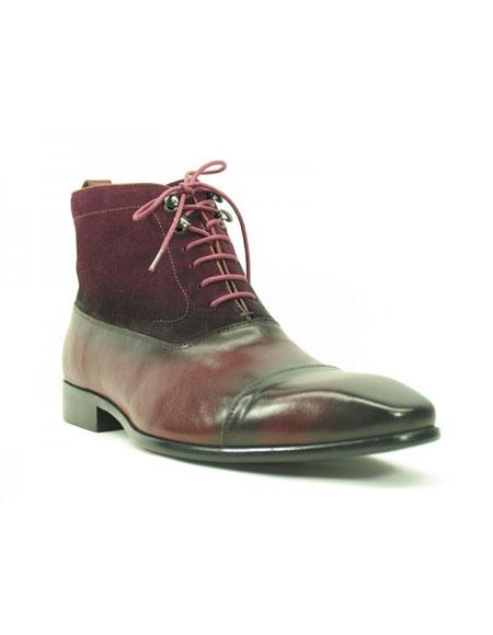 Buy KH161 Men's Carrucci Burgundy ~ Wine ~ Maroon Color Burnished Calfskin & Suede Boot Lace Leather Boots