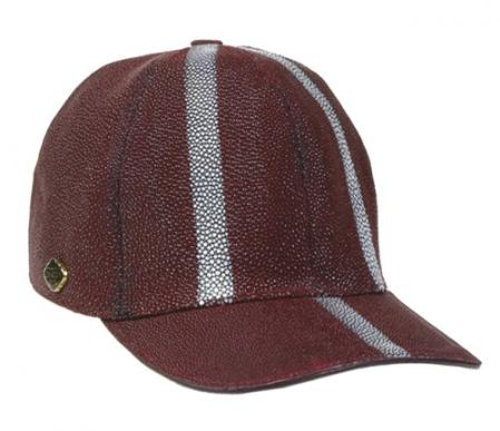Mens Ostrich Skin Hat Burgundy ~ Wine ~ Maroon Color